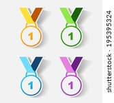 paper clipped sticker  medal.... | Shutterstock .eps vector #195395324