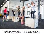 group trains box jumps   Shutterstock . vector #195395828