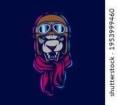 funny funky aviator pilot lion...   Shutterstock .eps vector #1953999460