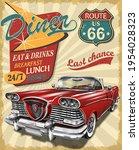 diner route 66 vintage poster...   Shutterstock .eps vector #1954028323