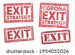 corona virus exit grunge stamp...   Shutterstock .eps vector #1954052026