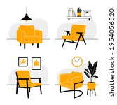 set of interiors with armchairs....   Shutterstock .eps vector #1954056520