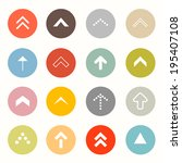 arrows set in circles isolated... | Shutterstock . vector #195407108