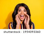 Small photo of Photo portrait of funky woman telling news rumours gossips isolated on bright yellow color background