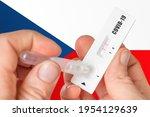 positive rapid test on covid 19 ...   Shutterstock . vector #1954129639