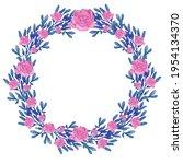 Raster Flower Wreath. Floral...