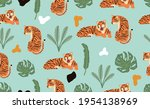 safari background with tiger... | Shutterstock .eps vector #1954138969