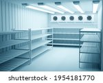 Small photo of Refrigerators compartment. Warehouse with shelves for food storage. Grocery warehouse with air conditioning Freezing of products. Stelms with shelves. Refrigeration equipment. Industrial refrigerator.