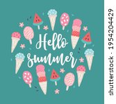 summer greeting card with ice...   Shutterstock .eps vector #1954204429