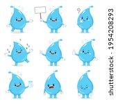 set of cute water drop cartoon...   Shutterstock .eps vector #1954208293