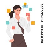 a woman taking notes and...   Shutterstock .eps vector #1954208983