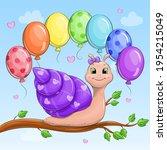 A Cute Cartoon Snail With A...
