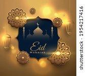 eid mubarak golden decorative...   Shutterstock .eps vector #1954217416