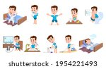 boy's daily routine. sleep ...   Shutterstock . vector #1954221493