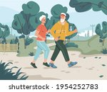 running senior man and woman in ... | Shutterstock .eps vector #1954252783