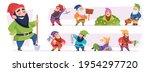 magical dwarf. fairytale garden ... | Shutterstock .eps vector #1954297720