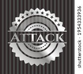 attack silver shiny badge.... | Shutterstock .eps vector #1954333936