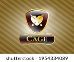 gold badge or emblem with heart ... | Shutterstock .eps vector #1954334089