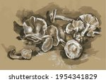mushrooms are on the table.... | Shutterstock .eps vector #1954341829
