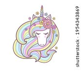 head of a cute unicorn with a... | Shutterstock .eps vector #1954343869