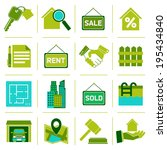 Real estate green icons set of property rent commercial management isolated vector illustration
