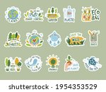 ecology stickers. save green... | Shutterstock .eps vector #1954353529
