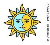 stylized half sun half moon...   Shutterstock .eps vector #1954359970