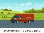 cargo van with driver on the... | Shutterstock .eps vector #1954371040