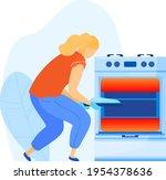girl cooking oven  woman...   Shutterstock .eps vector #1954378636