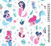 mermaid pattern. cartoon funny... | Shutterstock .eps vector #1954452253