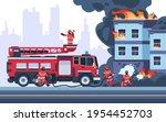 Fire Building. Firemen...
