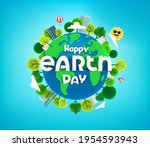 happy earth day banner with... | Shutterstock .eps vector #1954593943