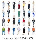 group of multiethnic diverse... | Shutterstock . vector #195461474