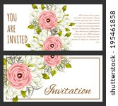 set of invitations with floral... | Shutterstock . vector #195461858