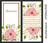 set of invitations with floral... | Shutterstock . vector #195461900
