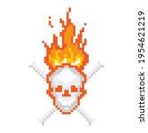 skull burning with bones pixel... | Shutterstock .eps vector #1954621219