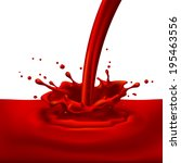 pouring of red paint with... | Shutterstock .eps vector #195463556