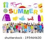 group of multiethnic children... | Shutterstock . vector #195464630