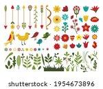 set of flowers  leaves of...   Shutterstock .eps vector #1954673896