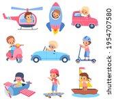 children drivers. young happy... | Shutterstock .eps vector #1954707580
