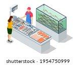 isometric fresh fish and... | Shutterstock .eps vector #1954750999