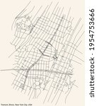 Black simple detailed street roads map on vintage beige background of the quarter Tremont neighborhood of the Bronx borough of New York City, USA