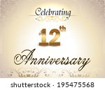 12 year anniversary golden... | Shutterstock .eps vector #195475568