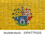 flag of Kaposvar painted on brick wall