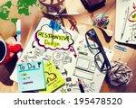 designer's desk with responsive ...   Shutterstock . vector #195478520