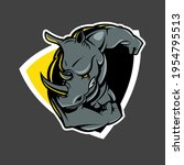 ramming rhino insignia vector... | Shutterstock .eps vector #1954795513