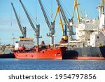 Cargo Ships Loading In Port...