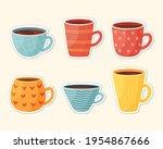 set of cute cozy mug stickers.... | Shutterstock .eps vector #1954867666