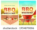 bbq weekend cartoon posters or... | Shutterstock .eps vector #1954870006