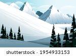 horizontal winter mountain... | Shutterstock .eps vector #1954933153